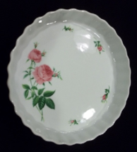 Christine Holm Rose Pattern Porcelain Quiche / Casserole / Pie Bakeware - $23.95
