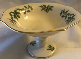 Lenox Holiday Footed Compote Holly Berry Christmas original tag nut candy USA - $23.01