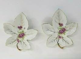 Leaf Shape Floral Trinket Dish Pink Rose Gold Trim set of 2 Japan - $19.00