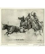 "Edward Borein Longhorn Etching ""Chasing A Longhorn No.2"" 1st printing (D... - $274.67"