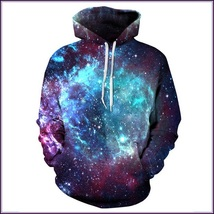 Blue Outerspace Painted Universe Long Sleeve Cotton Pullover Hoodie Swe... - $82.95