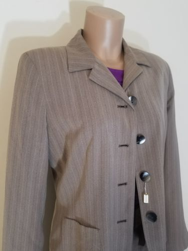 HARVE BENARD HOLTZMAN WOMEN'S PROFESSIONAL CHURCH POLYESTER SUIT SZ10 PINSTRIPE