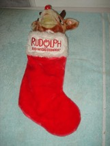 VINTAGE RUDOLPH THE RED NOSE REINDEER SINGING CHRISTMAS STOCKING - $35.99