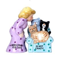 Crazy for Cats Lady Ceramic Magnetic Salt and Pepper Shaker Set - $12.86