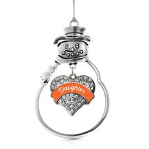 Inspired Silver Orange Daughter Pave Heart Snowman Holiday Christmas Tree Orname - $14.69