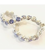 Nine West Purple Crystals Set In Silver Tone Metal Stretch Bracelet - $12.55