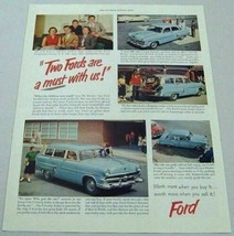 1953 Print Ad '53 Ford Cars 4-Doors & Station Wagons Gas Station & Pumps - $17.72