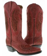 Womens Cowboy Boots Heart Wing Red Leather Inlay Sequins Snip Toe Size 55 - $96.03