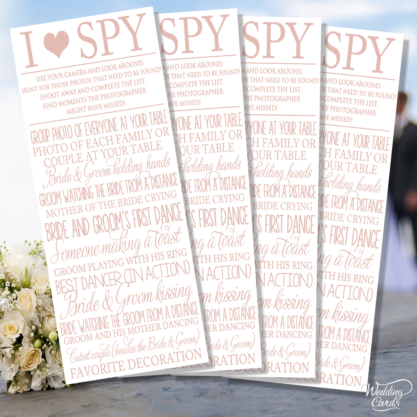 4 x Wedding I Spy Game Camera Kids Table Activity Favour Cards ANY COLOUR