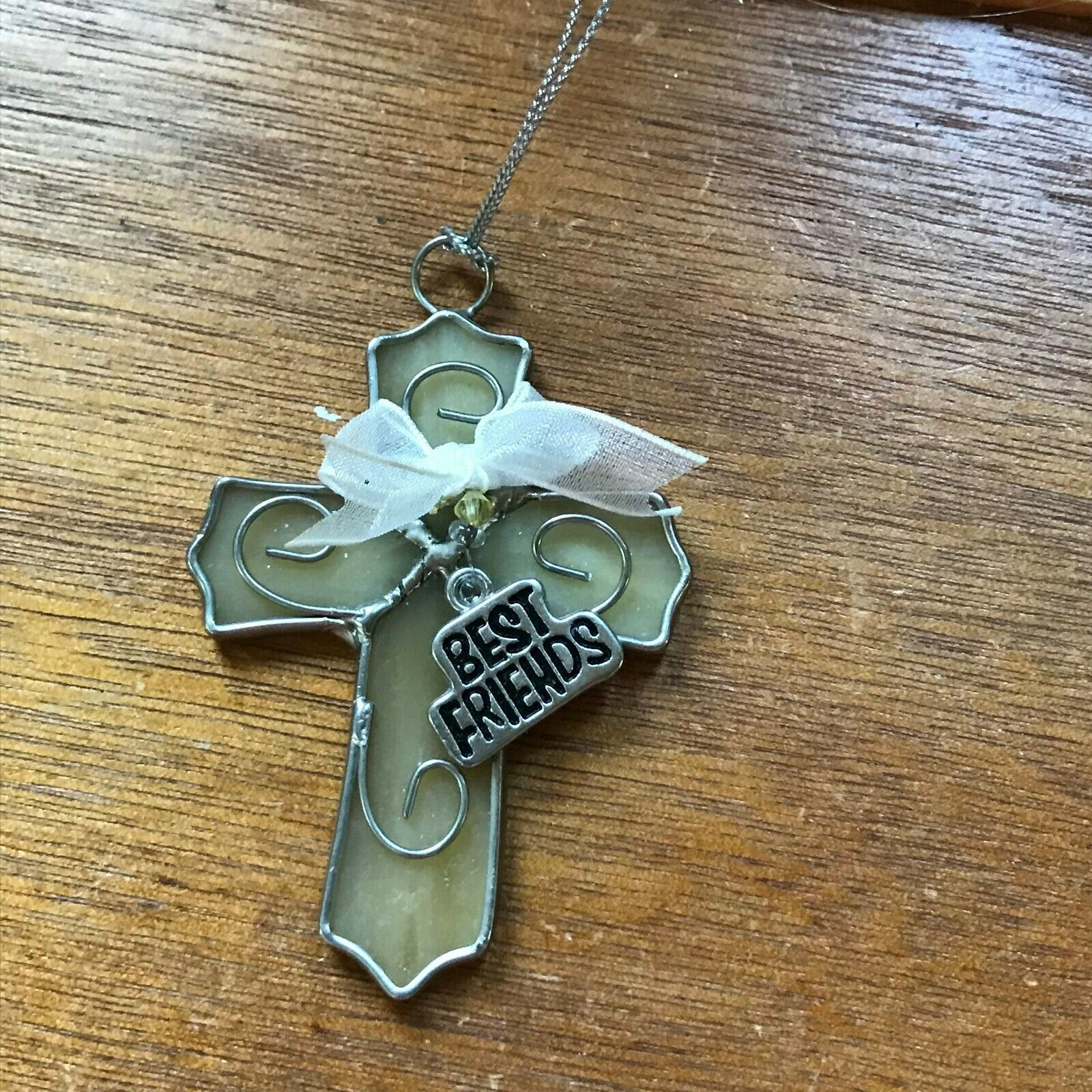 Estate Cream Glass & SIlvertone CROSS with Best Friends Charm Christmas Tree Orn image 3