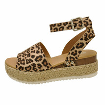 Soda TOPIC Oat Cheetah Women's Platform Wedge Espadrille Sandals - $31.95+