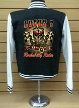 Lucky 7 Rockabilly Letterman Varsity Baseball BLACK/WHITE Fleece Jacket - $29.69+