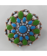 Vintage, Beautiful, Copper, Glass, and Rhinestone Pin / Brooch - Flower ... - $8.00