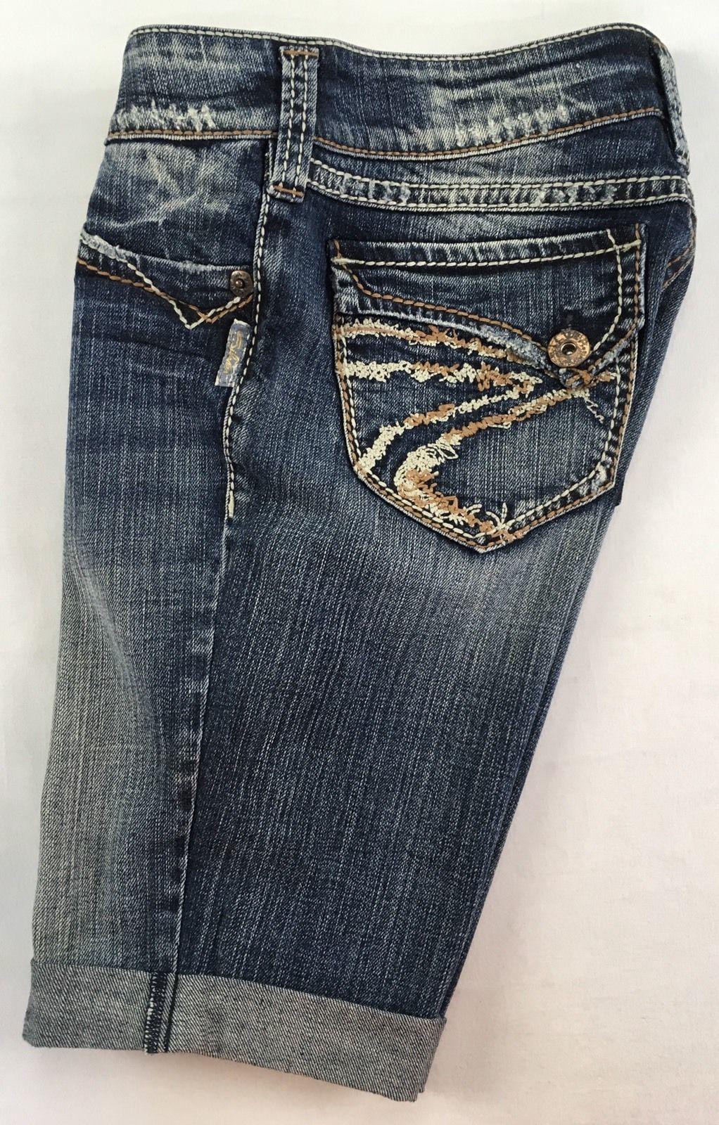 SILVER Jeans Sale Buckle Mid Rise Suki Flap Surplus Denim Jean Stretch Shorts 28