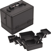 ALL BLACK 3-TIERS ACCORDION TRAYS MAKEUP COSMETIC CASE - C3002 - $52.99