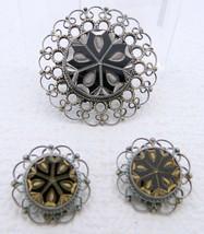VTG PLATA .925 JFCM Guad Mexico Sterling Silver Obsidian Pin Pendant Earring Set - $74.25