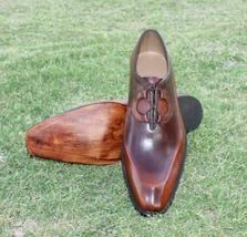 Handmade Men's Brown Fashion Dress/Formal Leather Shoes image 1