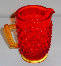 Vintage Red & Amber Glass Hobnail Miniature Pitcher - $18.80