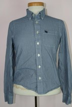 Abercrombie Kids Muscle Long Sleeve Button Down Blue Shirt Sz Large - $8.36