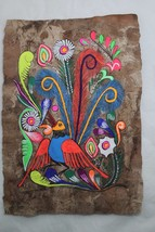 Mexican Folk Art Wall Decor Craft Painting Handmade Bark HandPainted Ora... - $12.99