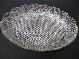 American Brilliant Period Cut Glass oval low bowl strawberry diamond fan - $110.92