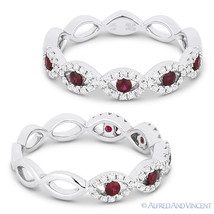 0.42 ct Round Cut Red Ruby & Diamond Pave Evil Eye Charm Ring in 18k Whi... - £786.68 GBP