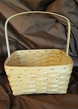 Longaberger 1992 Large Square Carry Basket Stationary Handle Custom Made - $29.95