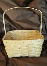 Longaberger 1992 Large Square Carry Basket Stationary Handle Custom Made - $29.95