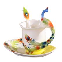 TWND Peacock Coffee Mug Colored Enamel Copo Ceramic Tea - $40.95