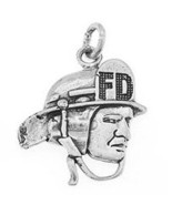 STERLING SILVER ONE SIDED FIREFIGHTER/ FIREMAN HEAD CHARM/PENDANT - $12.64