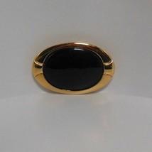 Vintage Signed Napier Gold-tone & Black Stone Oval Brooch - $24.75