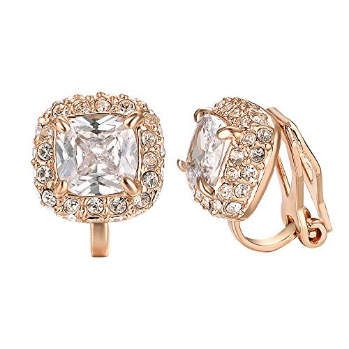 Yoursfs CZ Clip Earrings For Women 18K Rose Gold Plated Elements Zirconia Clip-o