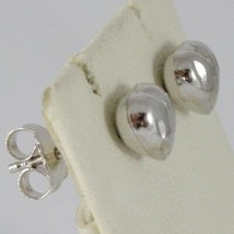 18K WHITE GOLD EARRINGS WITH VERY SHINY HEART LOVE WORKED MADE IN ITALY 0.28 IN image 2