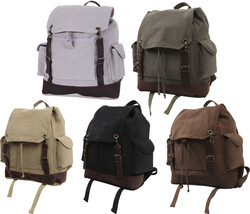 Military Expedition Rucksack Backpack Bag Large School Vintage Leather &... - $45.99