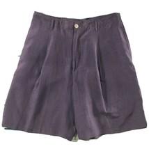 Chicos Womens Shorts size 12 Purple Silk Linen Blend Long Walking Bermud... - $36.14