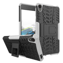 Shockproof Dual Layer Kickstand Protective Case for Sony Xperia E5 - White  - $4.99