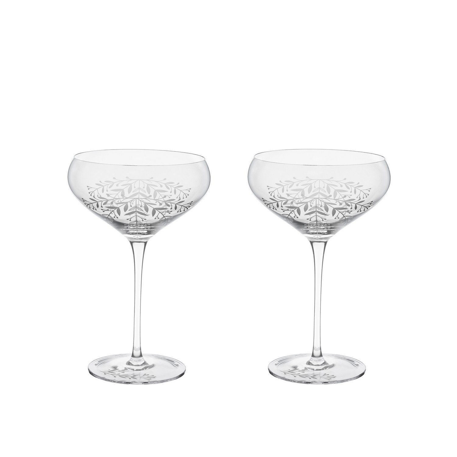 Clear Drinking Glasses, Garden Party Floral Crystal Cocktail Coupe Drink Glass