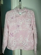 Susan Graver Style Jacket Shirt Top Small Pink Sequins Spring Lightweigh... - $15.76