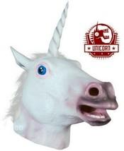 Unicornio Máscara Disfraz Halloween Blanco Mágico Criatura de Goma para ... - $27.24