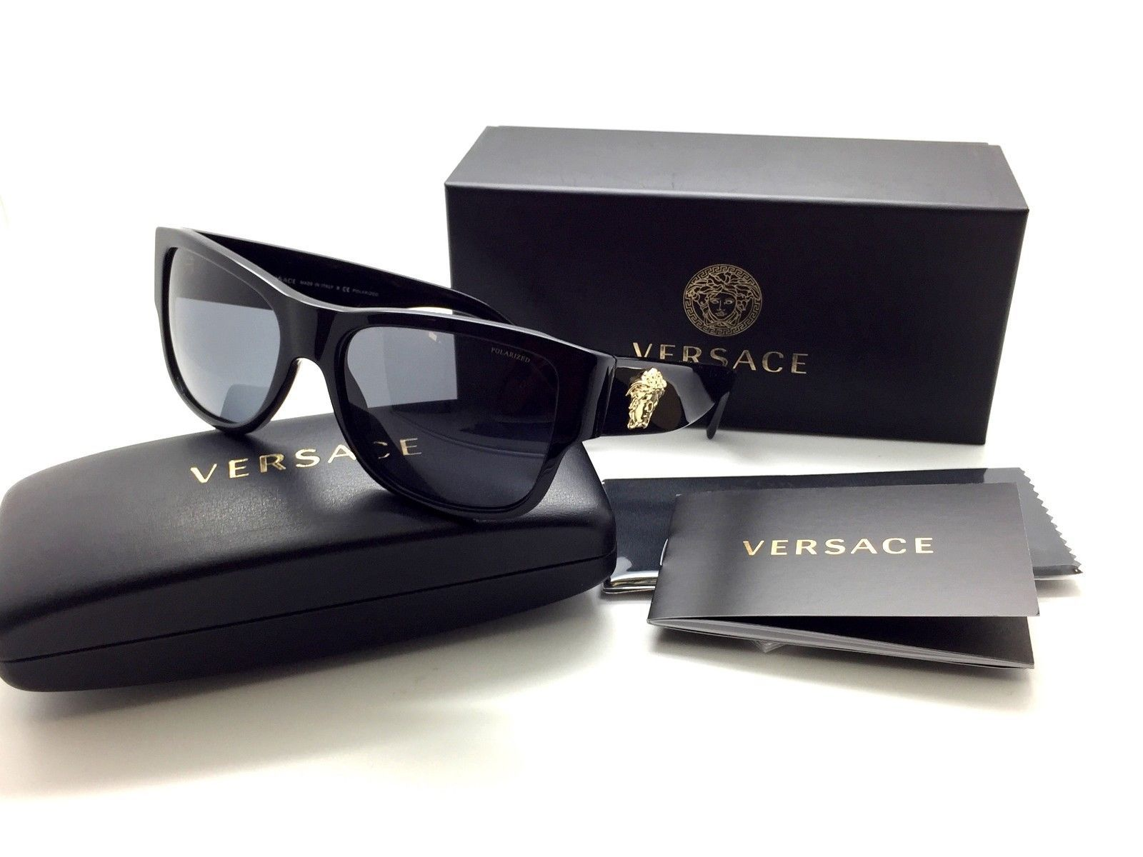 935581ea0ee 57. 57. VERSACE POLARIZED Sunglasses VE MOD 4275 GB1 87 58mm Black-Gold    Grey Lens