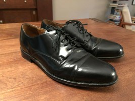 COLE HAAN Mens Size 10 Black Leather Lace Up Cap Toe Oxfords - £38.69 GBP