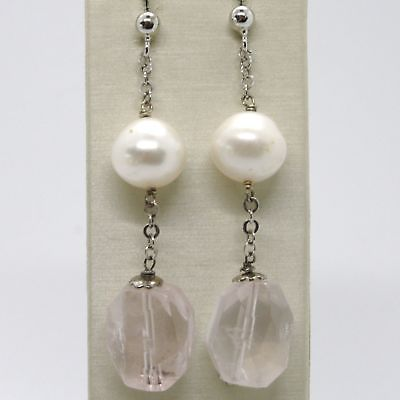 EARRINGS SILVER 925 RHODIUM PLATED WITH PINK QUARTZ NATURAL AND PEARLS WHITE