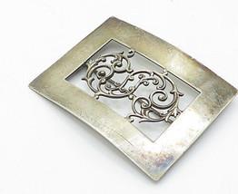925 Sterling Silver - Vintage Large Baroque Swirl Detail Brooch Pin - BP... - $102.15