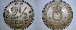 1974 Netherlands Antilles 2-1/2 Cent World Coin - $4.99