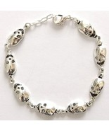 SILVER PLATED NICKLE FREE CHARM BRACELET, ALIEN SKULLS E.T. SMALL ADJUST... - $12.60