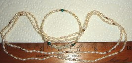 VTG ROSS SIMONS PEARL MALACHITE NECKLACE COIL MEMORY BRACELET DANGLE EAR... - $267.99