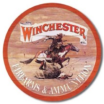 Winchester Express Round Metal Sign Tin New Vintage Style USA #975 - $10.29