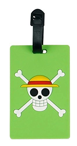 Set Of 2 Luggage Tag Bag Tags Silicone Name Tag Travel Tag [Green Skull]