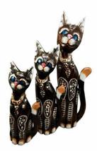Balinese Wood Handicraft Blue Eyed Feline Cat Family Set of 3 Figurines ... - $43.99