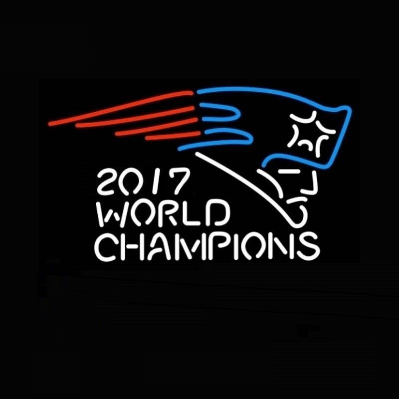 "New England Patriots 2017 World Champions Beer Bar Neon Sign 24""x20"""